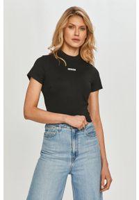 Calvin Klein Jeans - T-shirt. Okazja: na co dzień. Kolor: czarny. Materiał: dzianina. Wzór: nadruk. Styl: casual