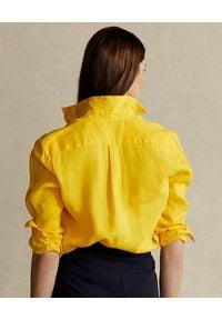 Ralph Lauren - RALPH LAUREN - Koszula z lnu Relaxed Fit. Okazja: na co dzień. Typ kołnierza: polo. Kolor: żółty. Materiał: len. Długość rękawa: długi rękaw. Długość: długie. Wzór: aplikacja. Styl: elegancki, casual