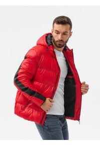 Ombre Clothing - Kurtka męska pikowana C503 - czerwona - XXL. Kolor: czerwony. Materiał: poliester