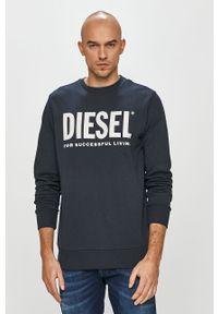 Niebieska bluza nierozpinana Diesel na co dzień, bez kaptura, z nadrukiem, casualowa