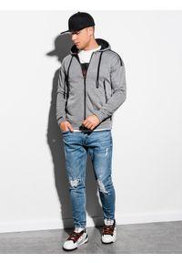 Ombre Clothing - Bluza męska rozpinana z kapturem B1076 - szary melanż - XXL. Typ kołnierza: kaptur. Kolor: szary. Materiał: poliester, bawełna. Wzór: melanż