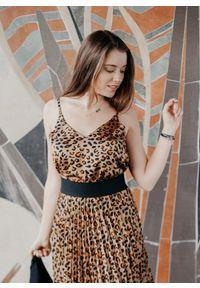 Brązowa bluzka Fanaberia.com na ramiączkach, elegancka, na jesień