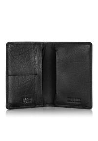 BRODRENE - Skórzany cienki portfel męski z ochroną RFID Brodrene 5574 czarny. Kolor: czarny. Materiał: skóra. Wzór: gładki
