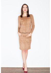 Figl - Brązowa Prosta Midi Sukienka z Paskiem z Eko-skóry. Kolor: brązowy. Materiał: skóra. Typ sukienki: proste. Długość: midi