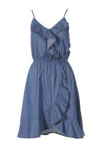 Born2be - Granatowa Sukienka Fontalina. Okazja: na co dzień. Kolor: niebieski. Materiał: zamsz. Długość rękawa: na ramiączkach. Typ sukienki: proste, asymetryczne. Styl: casual. Długość: mini