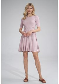 e-margeritka - Sukienka wiskozowa na lato rozkloszowana różowa - s. Kolor: różowy. Materiał: wiskoza. Sezon: lato. Typ sukienki: rozkloszowane