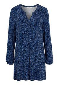 Niebieska tunika Cellbes z długim rękawem, długa, w kwiaty