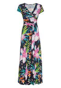 Długa sukienka z założeniem kopertowym bonprix czarno-zielono-różowy w kwiaty. Kolor: czarny. Wzór: kwiaty. Typ sukienki: kopertowe. Długość: maxi