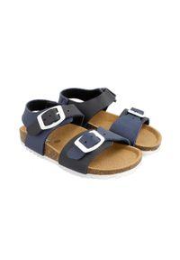 Niebieskie sandały Garvalin gładkie, na klamry