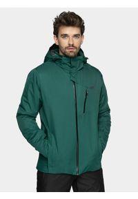 4f - Kurtka narciarska męska. Typ kołnierza: kaptur. Kolor: zielony. Materiał: materiał, poliester. Sezon: zima. Sport: narciarstwo