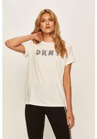 Biała bluzka DKNY casualowa, na co dzień, z nadrukiem
