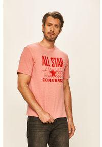 Różowy t-shirt Converse na co dzień, casualowy, z nadrukiem