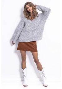 Fobya - Szary Lekki Oversizowy Sweter z Rozszerzanymi Rękawami. Kolor: szary. Materiał: wełna, poliakryl