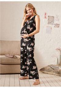 Kombinezon ciążowy i do karmienia z dżerseju bonprix czarny w kwiaty. Kolekcja: moda ciążowa. Kolor: czarny. Materiał: jersey. Wzór: kwiaty