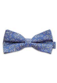 Niebieska Mucha w Biały Ornament - Vernon, Męska. Kolor: niebieski. Styl: sportowy, elegancki