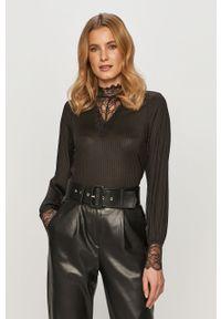 Czarna bluzka Jacqueline de Yong z długim rękawem, casualowa