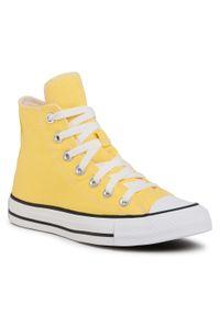 Żółte buty sportowe Converse z cholewką, na co dzień