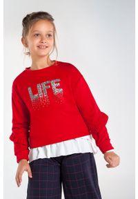 Czerwona bluza Mayoral z aplikacjami, bez kaptura, casualowa