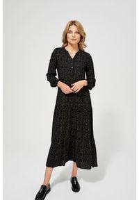 MOODO - Sukienka w stylu retro z bufiastymi rękawami. Okazja: na plażę, na co dzień. Typ kołnierza: kołnierzyk stójkowy. Materiał: wiskoza. Wzór: nadruk, grochy. Typ sukienki: proste, koszulowe. Styl: retro