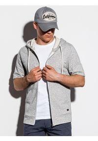 Ombre Clothing - Bluza męska z krótkim rękawem B1068 - szara - XL. Typ kołnierza: kaptur. Kolor: szary. Materiał: bawełna, poliester. Długość rękawa: krótki rękaw. Długość: krótkie