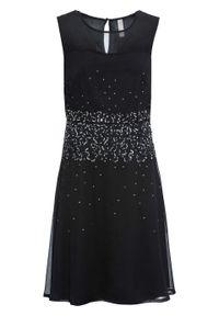 Czarna sukienka bonprix z aplikacjami, midi