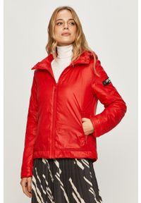Czerwona kurtka Love Moschino na co dzień, z kapturem, casualowa