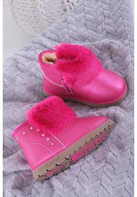 Casu - różowe śniegowce mukluki brokatowe z futerkiem emu casu 978b. Kolor: różowy. Materiał: futro
