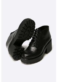 vagabond - Vagabond - Botki. Nosek buta: okrągły. Kolor: czarny. Materiał: skóra. Obcas: na obcasie. Wysokość obcasa: średni