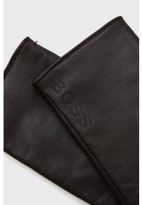 BOSS - Boss - Rękawiczki skórzane Boss Casual. Kolor: brązowy. Materiał: skóra. Styl: casual