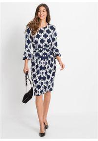 Niebieska sukienka bonprix z nadrukiem