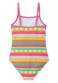 Kostium kąpielowy dziewczęcy bonprix różowo-turkusowo-pomarańczowo-zielony. Kolor: różowy. Wzór: kwiaty, paski