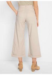 Spodnie culotte z tkaniny, w długości 7/8 bonprix beżowo-szary. Kolor: szary. Materiał: tkanina