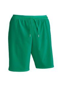KIPSTA - Spodenki piłkarskie dla dorosłych Kipsta F500. Kolor: zielony. Materiał: poliester, elastan, poliamid, materiał. Sport: piłka nożna