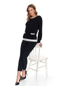 Czarny sweter TOP SECRET na wiosnę, w kolorowe wzory