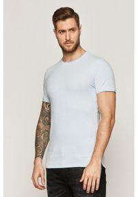 Niebieski t-shirt medicine z okrągłym kołnierzem
