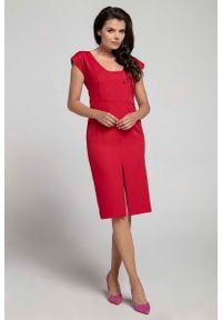 Czerwona sukienka Nommo z dekoltem na plecach, wizytowa