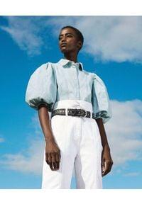 TwinSet - Koszula jeansowa z balonowymi rękawami Twinset. Kolor: niebieski. Materiał: jeans. Styl: klasyczny