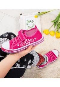 UNDERLINE - Trampki dziecięce Underline 10C1827 Różowe. Zapięcie: rzepy. Kolor: różowy. Materiał: skóra, tkanina, guma