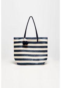 Niebieska torebka MOODO z pomponami