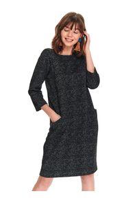 Czarna sukienka TOP SECRET na co dzień, z dekoltem w łódkę