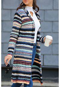 Wielokolorowy sweter IVET na zimę, do kolan, w paski
