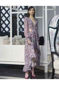 ROCOCO SAND - Wzorzysta sukienka maxi z wycięciami. Kolor: biały. Materiał: materiał. Wzór: nadruk, aplikacja. Typ sukienki: asymetryczne. Długość: maxi