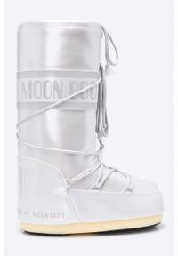 Srebrne śniegowce Moon Boot na średnim obcasie, z okrągłym noskiem, na obcasie