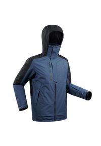 WEDZE - Kurtka narciarska męska Wedze Freeride JKT SKI FR100. Kolor: niebieski. Materiał: skóra, materiał. Sport: narciarstwo