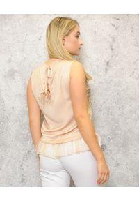 CRISTINAEFFE - Bluzka bez rękawów w zwierzęcy print. Kolor: beżowy. Długość rękawa: bez rękawów. Wzór: motyw zwierzęcy, nadruk
