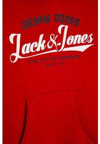 Czerwona bluza Jack & Jones z kapturem, z nadrukiem