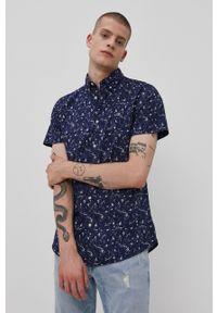 PRODUKT by Jack & Jones - Produkt by Jack & Jones - Koszula bawełniana. Okazja: na co dzień. Typ kołnierza: button down. Kolor: niebieski. Materiał: bawełna. Długość rękawa: krótki rękaw. Długość: krótkie. Wzór: aplikacja. Styl: casual
