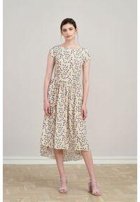Marie Zélie - Sukienka Antea Matthiola. Materiał: wiskoza, materiał. Długość rękawa: krótki rękaw. Typ sukienki: asymetryczne