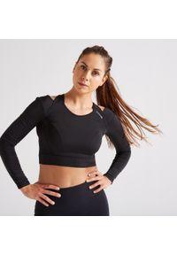 DOMYOS - Koszulka fitness Domyos crop top długi rękaw. Materiał: poliamid, materiał, elastan. Długość rękawa: długi rękaw. Długość: długie. Sport: fitness