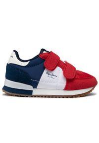 Pepe Jeans - Sneakersy PEPE JEANS - Sydney Basic Boy PBS30489 Red 255. Okazja: na spacer. Zapięcie: rzepy. Kolor: czerwony. Materiał: skóra ekologiczna, materiał. Szerokość cholewki: normalna